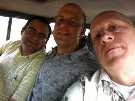 Fikri, Phillip and Steve on a bus in Peru